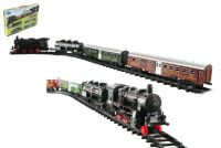 Vlak + 3 vagóny s kolejemi 24ks plast na baterie se světlem se zvukem v krabici 59x39x6cm