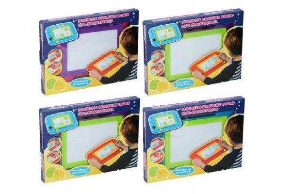 Magnetická tabulka kreslící s doplňky asst 4 barvy  v krabici 33x24cm