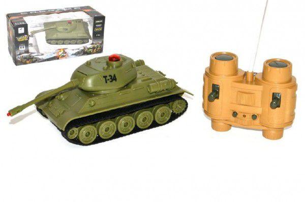 Tank RC plast 22cm T34 27MHz na baterie+dobíjecí pack se zvukem a světlem v krabici 40x15x