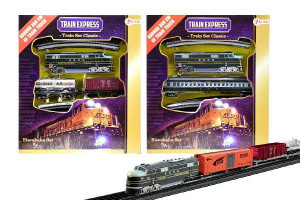 Vlak s kolejemi plast délka dráhy 360cm na baterie se světlem asst 3 druhy v krabici 30x34
