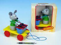 Myš s xylofonem dřevo tahací 20cm v krabičce
