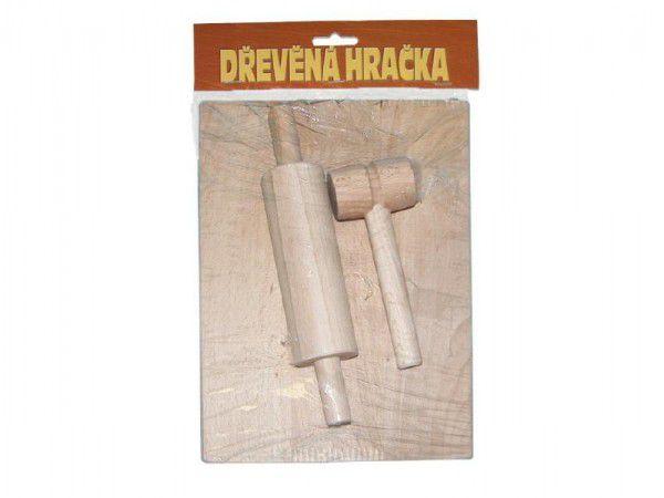 Nádobí váleček, prkýnko, palička dřevo 24x18cm v sáčku