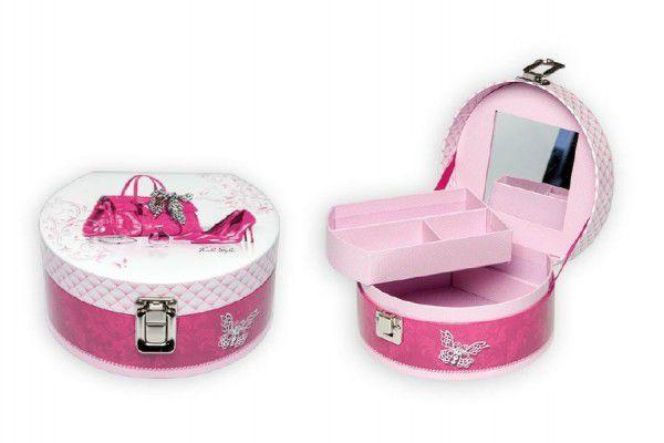 Skříňka/šperkovnice růžová v sáčku 17x8cm
