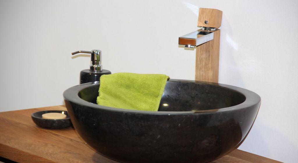 Umývadlo z prírodného kameňa Gemma 501 leštený mramor Ø 40 cm Black