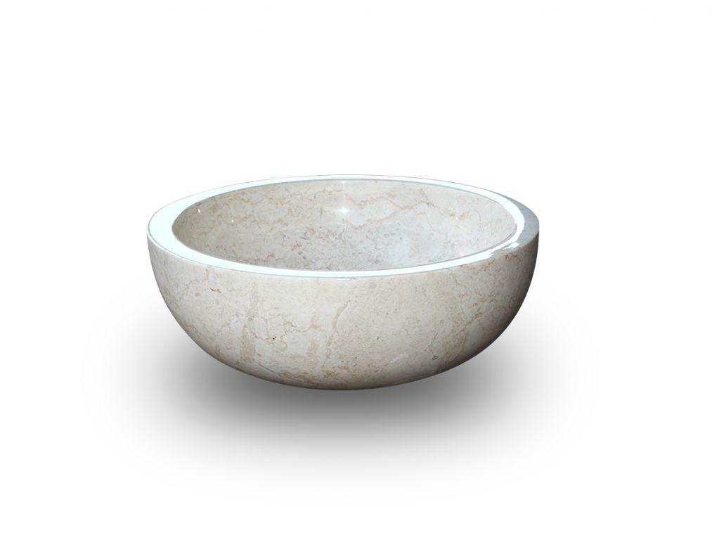 Umývadlo z prírodného kameňa Gemma 501 leštený mramor Ø 45 cm Cream