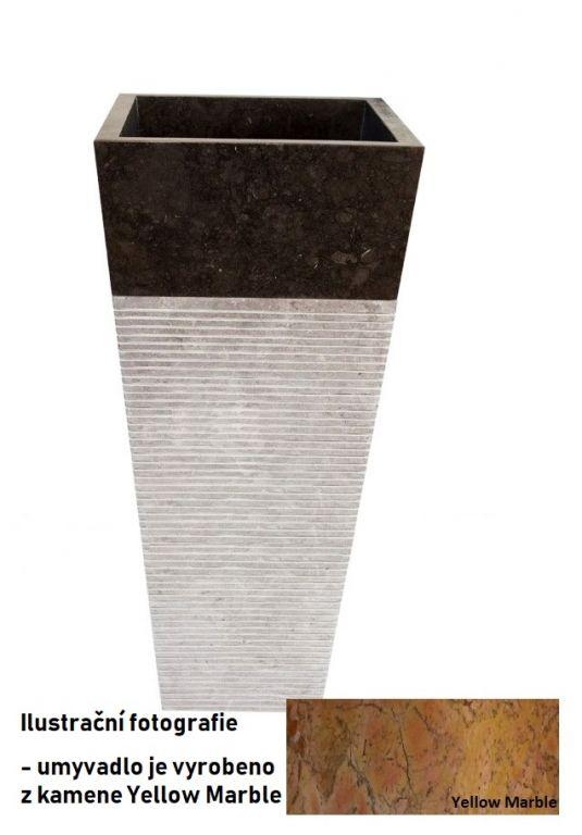 Voľne stojace kamenné umývadlo Pedestal square Garis Yellow