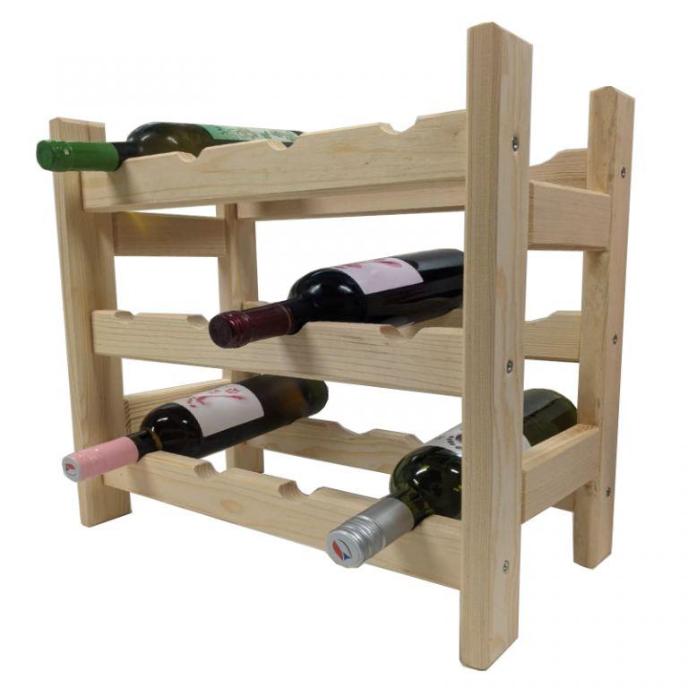 Drevený stojan na víno pre 12 fliaš
