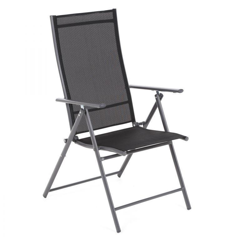 Skladacia záhradná kovová stolička - čierna
