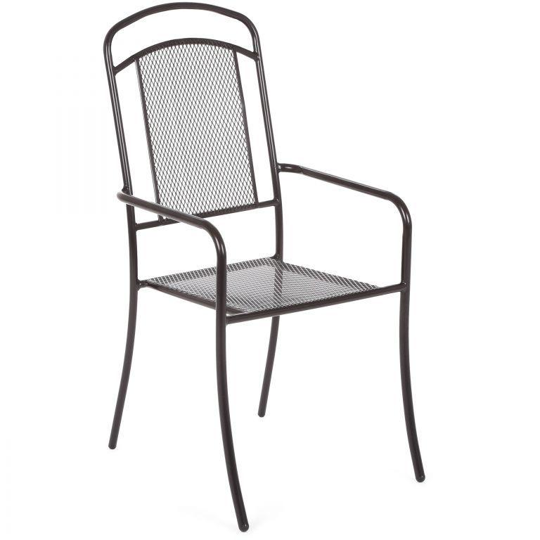 Záhradná kovová stolička Venezia - čierna