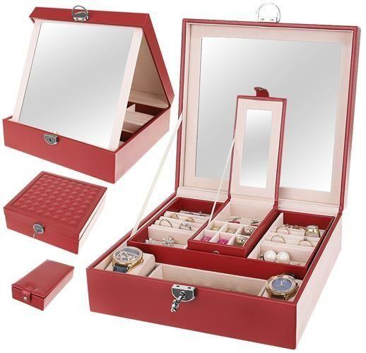 Šperkovnica so zrkadielkom Deluxe - červená