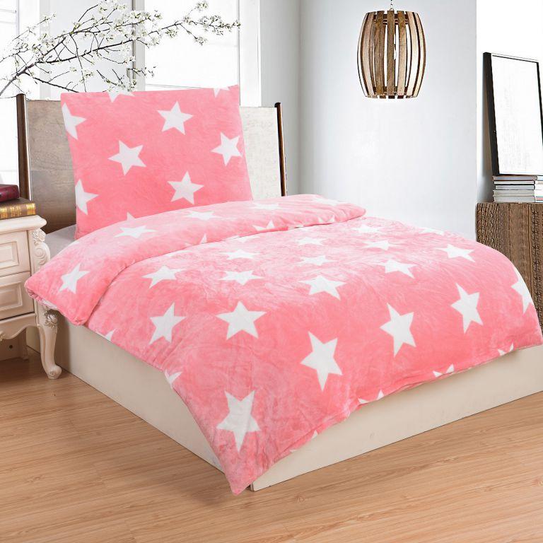 Mikroplyšové obliečky STARS PINK