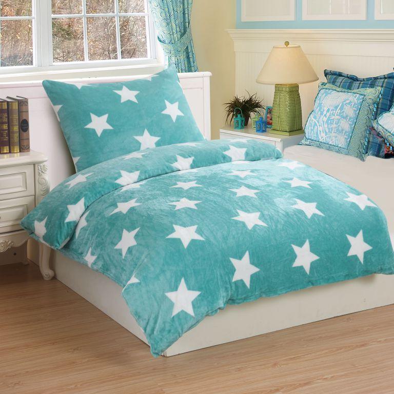 Mikroplyšové obliečky STARS MINT