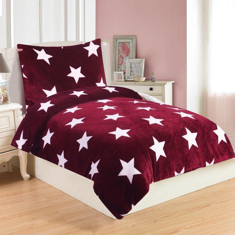 Mikroplyšové obliečky STARS BORDO