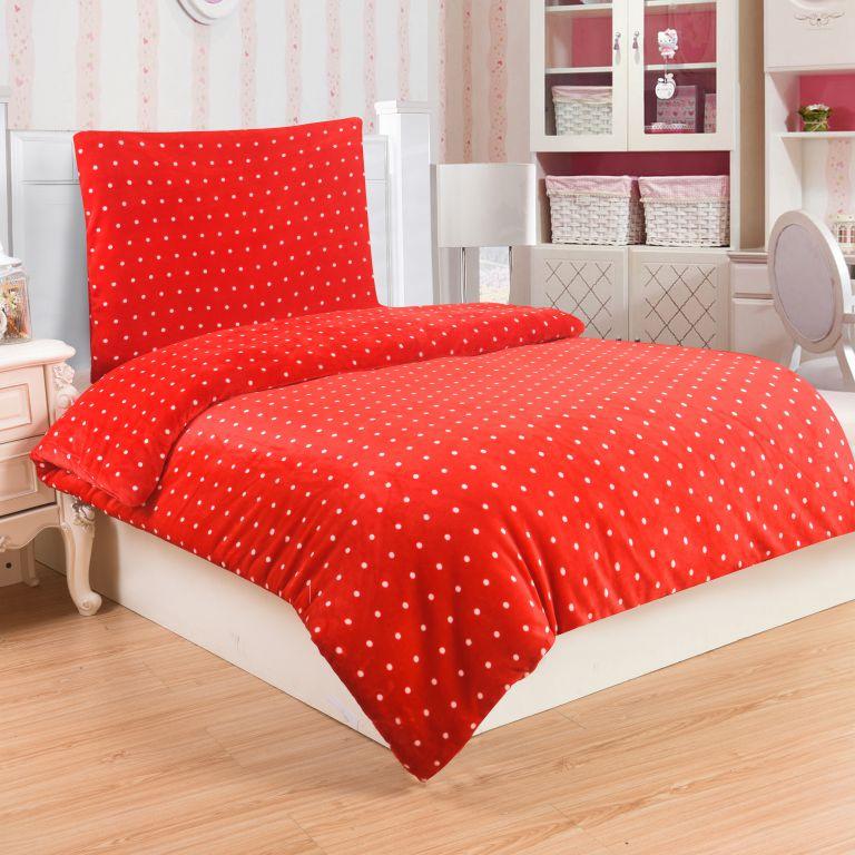 Mikroplyšové obliečky POLKA RED