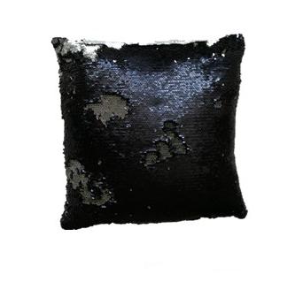 Povlak na vankúš s flitrami MAGIC 40 x 40 cm - čierna/strieb