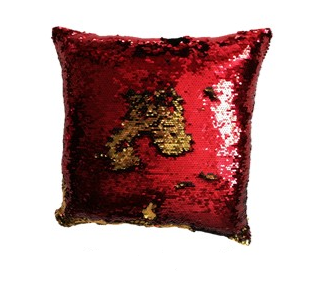 Povlak na vankúš s flitrami MAGIC 40 x 40 cm - červená/zlatá