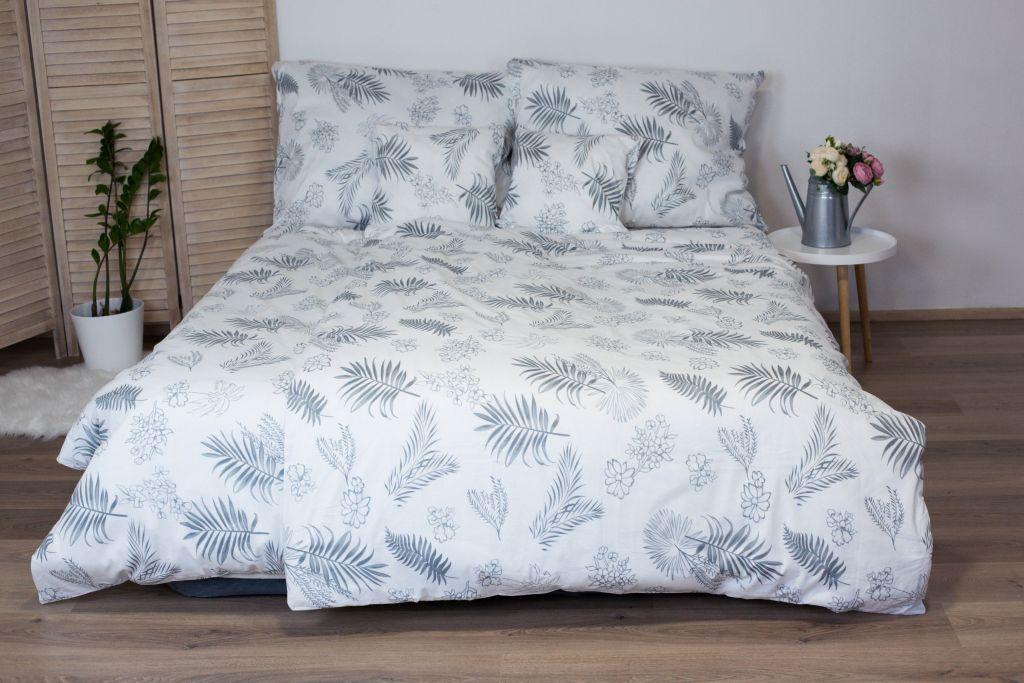 Bavlnené posteľné obliečky 3-dielne Dita - Listy sivé