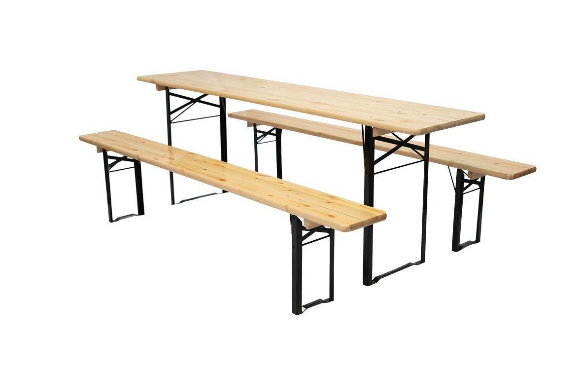 Zosilnený pivný set, ošetrené borovicové drevo 220 x 50 cm