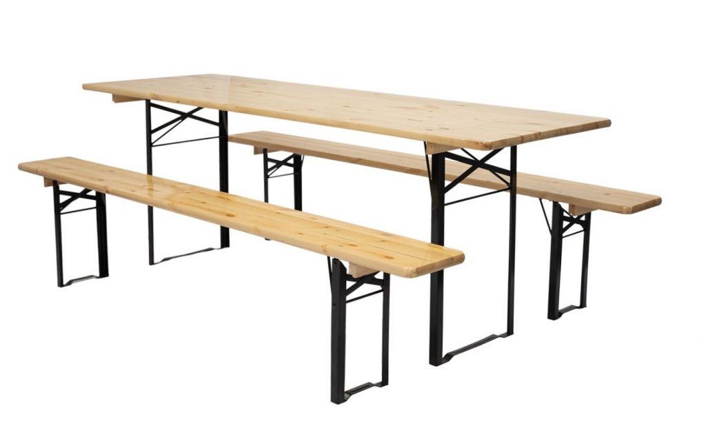 Zosilnený pivný set, ošetrené borovicové drevo 220 x 70 cm