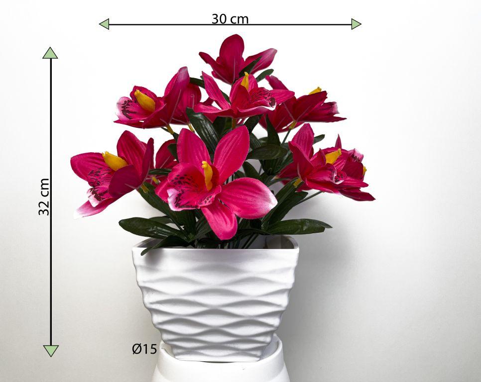 Umelá kvetina - orchidea v kvetináči - tmavo-ružová, 32 cm