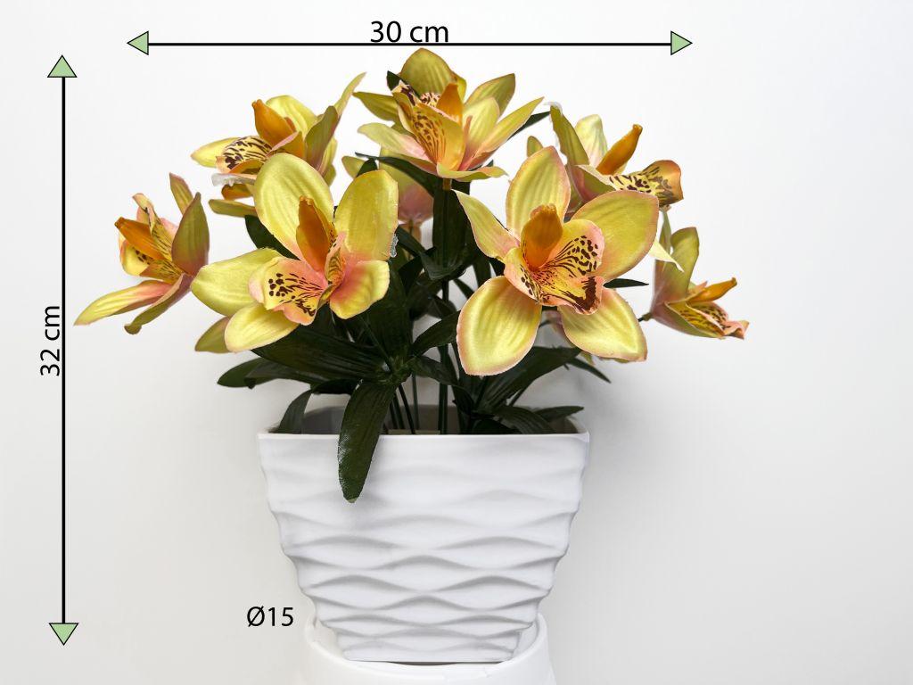 Umelá kvetina - orchidea v kvetináči - žltá, 32 cm