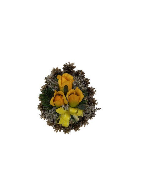 Smútočná kvetina v tvare srdca, malá, žltá