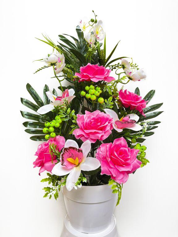 Umelá kvetina - ruža v kvetináči - svetlo- ružová, 62 cm