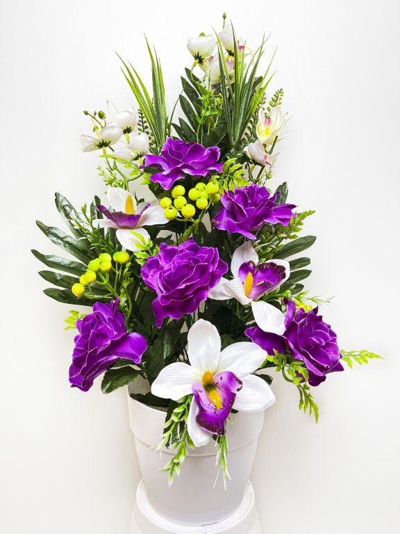 Umelá kvetina - ruža v kvetináči - fialová, 62 cm