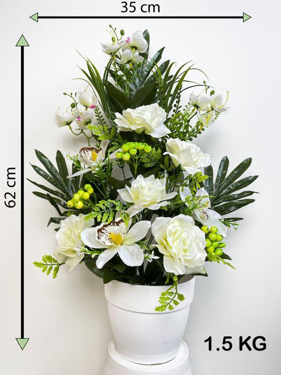 Umelá kvetina - ruža v kvetináči - biela, 62 cm