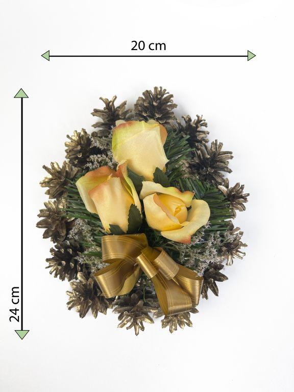 Smútočná kvetina v tvare srdca, malá, oranžovovo- zlatá