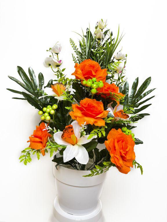 Umelá kvetina - ruža v kvetináči - oranžová, 62 cm
