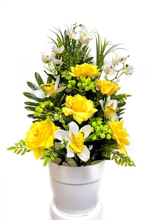 Umelá kvetina - ruža v kvetináči - žltá, 62 cm