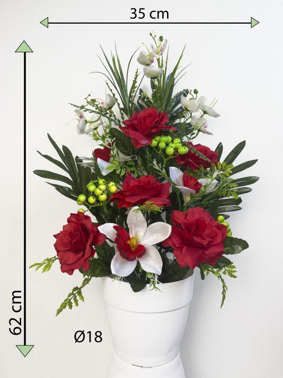 Umelá kvetina - ruža v kvetináči - červená, 62 cm