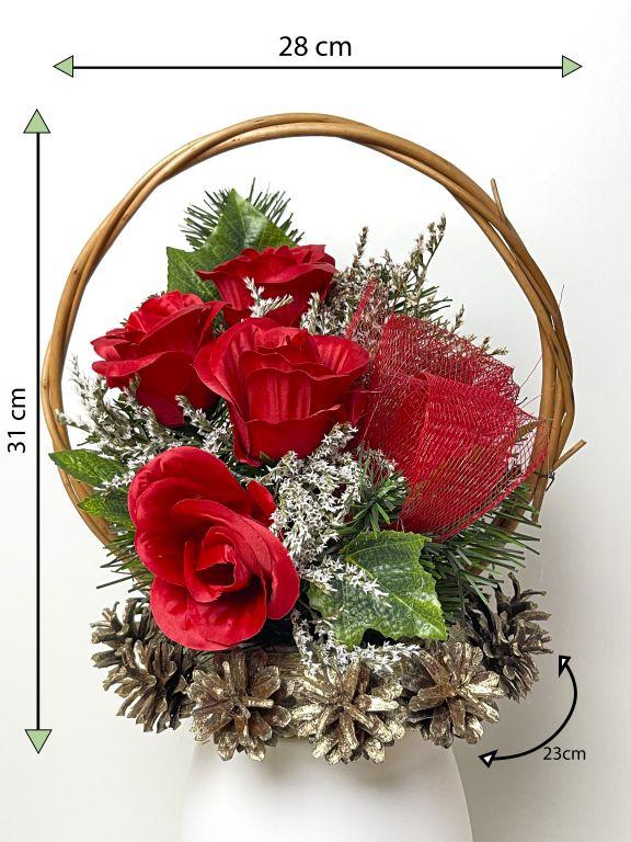 Veľký kvetinový kôš, červený