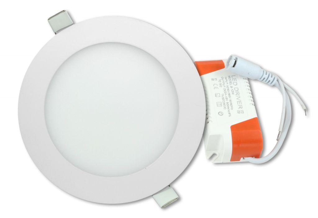 LED stropný panel guľatý 12 W, teplá biela