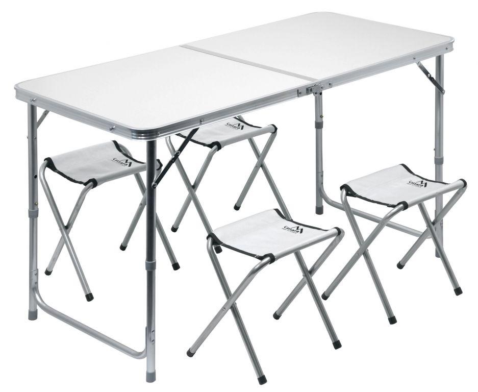 Set kemping DOUBLE sivý, 4 stoličky