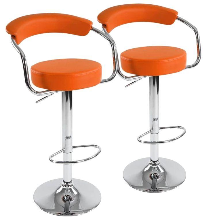 Sada barových stoličiek 2 ks, oranžová, 53 x 105 x 52 cm