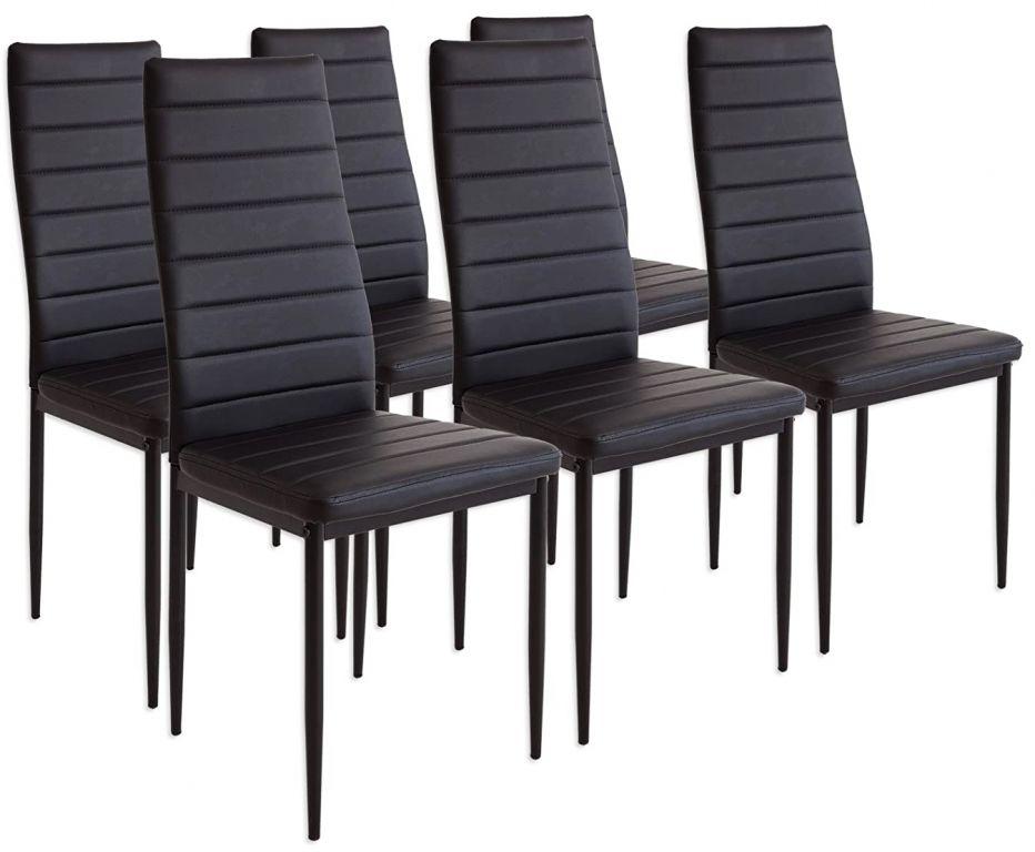 Sada jedálenských stoličiek s PU kožou, čierne, 6 ks