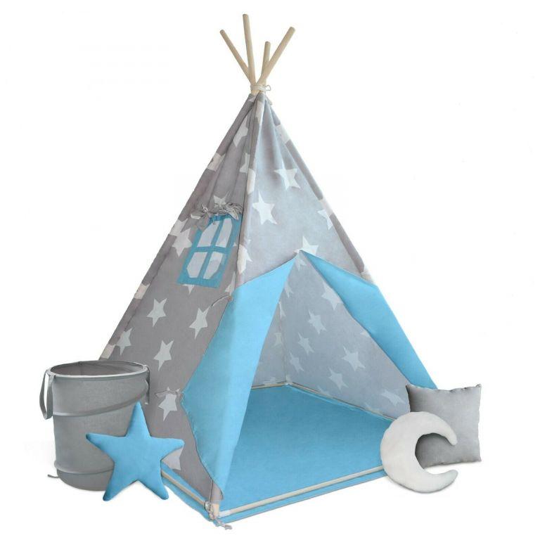 Detský stan teepee, sivo/modrý, s príslušenstvom
