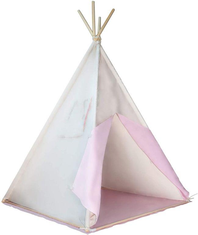 Detský stan teepee, ružovo/béžový, bez príslušenstva