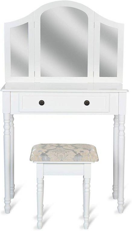 Toaletný stolík so stoličkou, biely