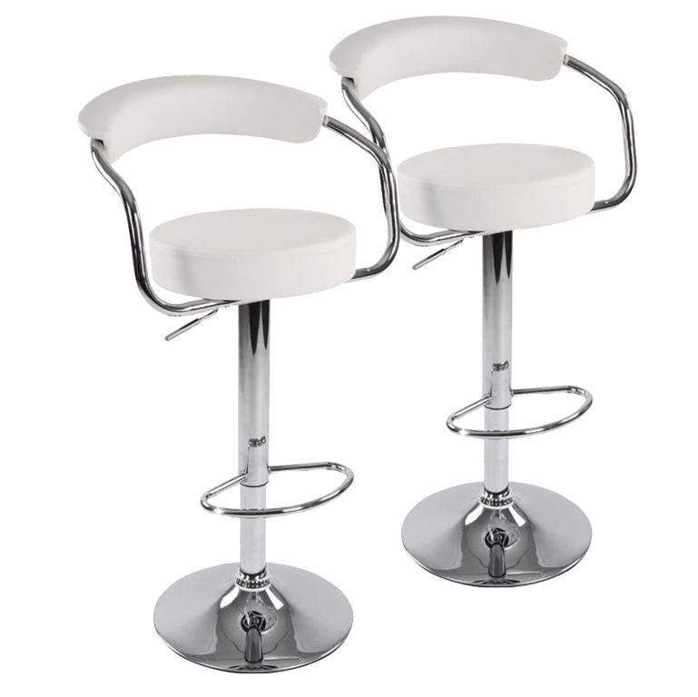 Sada barových stoličiek 2 ks, biela, 53 x 105 x 52 cm