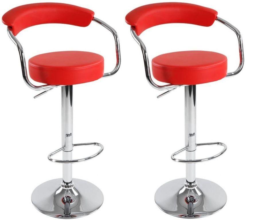 Sada barových stoličiek 2 ks, červená, 53 x 105 x 52 cm