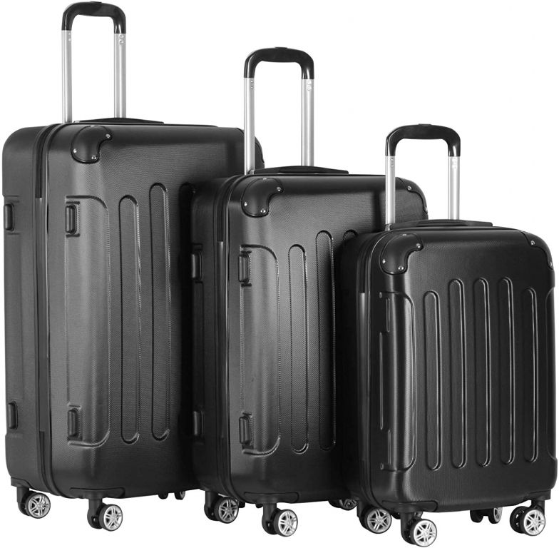 Sada cestovných kufrov 3-dielna, tvrdý plast, čierna