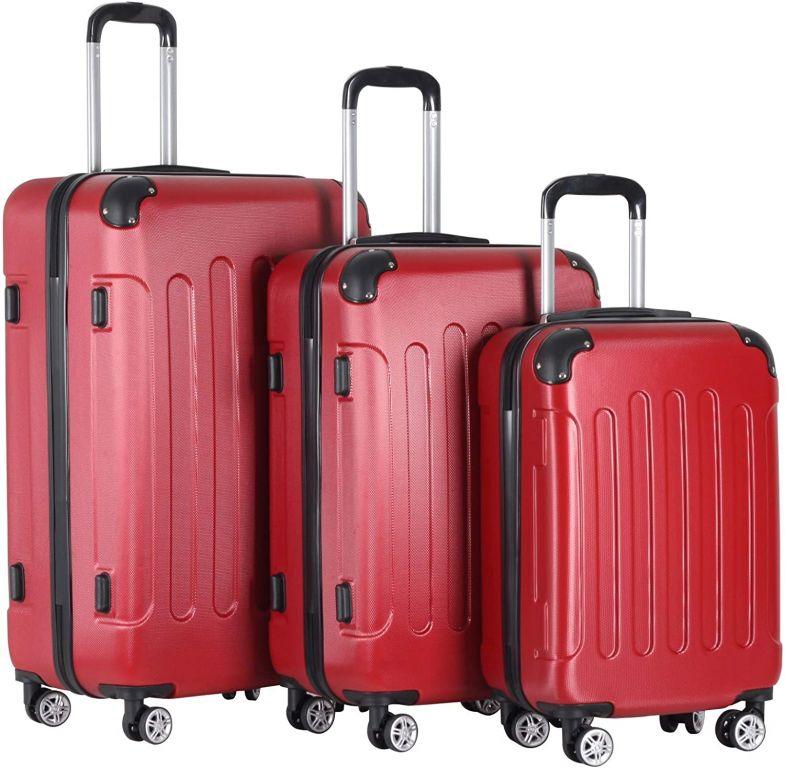 Sada cestovných kufrov 3-dielna, tvrdý plast, červená