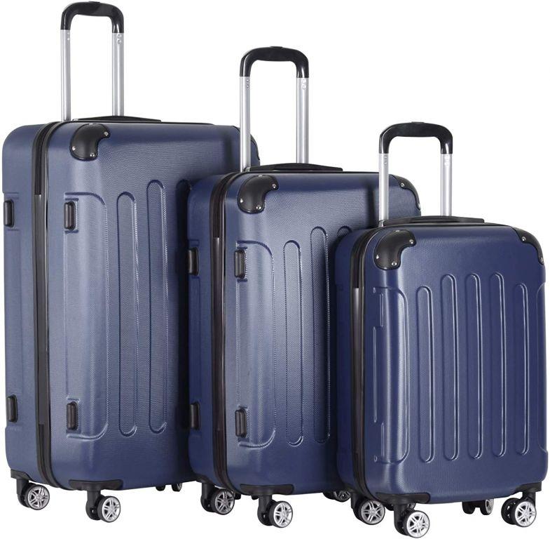 Sada cestovných kufrov 3-dielna, tvrdý plast, tmavomodrá