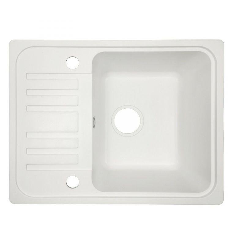 Granitový drez s odkvapkávačom, biely, 32 x 19 x 39 cm