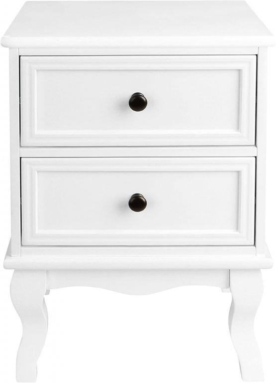 Sada nočných stolíkov s 2 zásuvkami, 2 ks, biela
