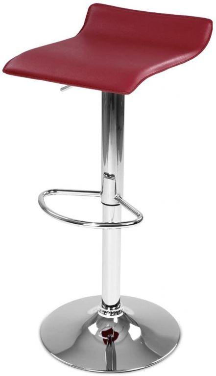 Barová stolička z umelej kože, tmavočervená