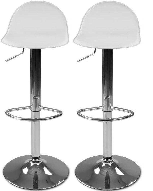 Sada barových stoličiek s podnožkou, biela, 2 ks